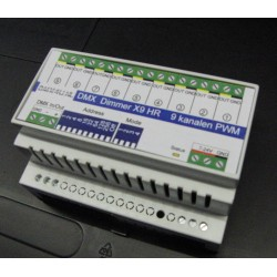 DMX Leddimmer 9x10Ampere High Resolution - DinRail