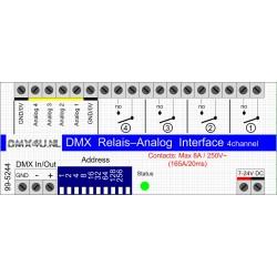DMX Relais2 kanalen & Analoog 4 kanalen 0-10Volt of 1-10Volt