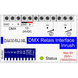 DMX Relais Interface 2 kanalen - DinRail