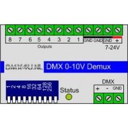 DMX naar 0-10V Demultiplexer 8 kanaals - DinRail